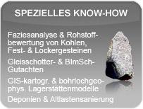 Leistungsspektrum der GEOmontan GmbH Freiberg im Bereich spezielles Know-how.